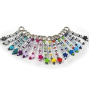 Schlüsselanhänger mit Namen handmade - Kinder - Erwachsene - Taschenbaumler - Stern - Schlüsselring - verschiedene Farben
