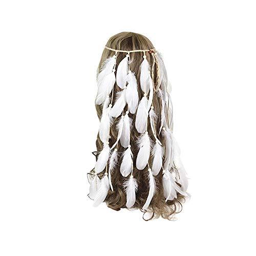 Frauen Blume Haarnadel Hut Feder Stirnband Hippie Kopfschmuck Boho Nette Perlen Native Indian Kopfschmuck Für Maskerade Frauen Haarschmuck Cocktail Party Headwear