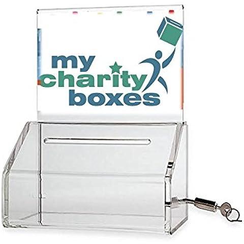Mi caridad Boxes 'Pack de 2' Slopie donación caja–caja de Votación billete caja–Punta contenedor–con pantalla con bloqueo