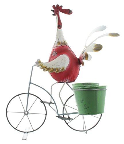 Gall & Zick Huhn mit Fahrrad und Blumentöpfen (Blumentopf Huhn)