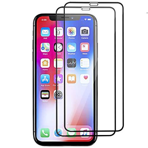 JDHDL Displayschutzfolie für iPhone XS Max [16,5 Zoll] (2018) gehärtetes Glas, Kratzfest, HD klare Lichtdurchlässigkeit, kompatibel mit 9H Härte, Sensitive Response, volle Abdeckung, Black 2Pack Portion Case Pack