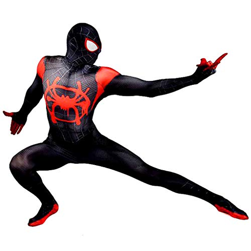 Kostüm Halloween Mann Invisible - K-Flame Erwachsene Spider-Man Overall Halloween Cosplay Spiderman 3D Druck Kostüm Männer Movie Theme Party Kostüm Body,Schwarz,XXL