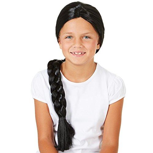 dressforfun Perücke schwarz mit Zopf 60cm | Kinder Fasching Mädchen Indianer Barock ()