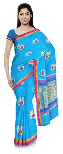Akram Sarees Women's Kota Doria Handloom Cotton Silk Saree With Blouse Piece (Blue)