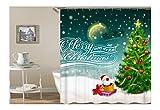 Bishilin 3D Anti Schimmel Duschvorhang 90X180 Merry Christmas Weihnachtsmann Weihnachtsbaum Duschvorhang Waschbar aus Polyester-Stoff