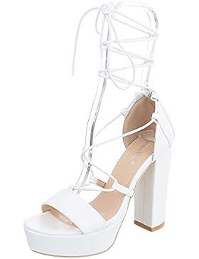 High Heel Sandaletten Damenschuhe Plateau Pump High Heels Schnürsenkel Ital-Design Sandalen / Sandaletten