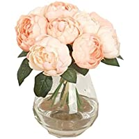 Sanysis 1 x 6 cabezas Peonía flores artificiales colgantes (Rosa)