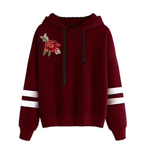 Manteau Femme Hiver à Capuche Women Embroidery Applique Long Sleeve Hoodie Sweatshirt Jumper Hooded Pullover Tops Blouse par Homebaby Vin