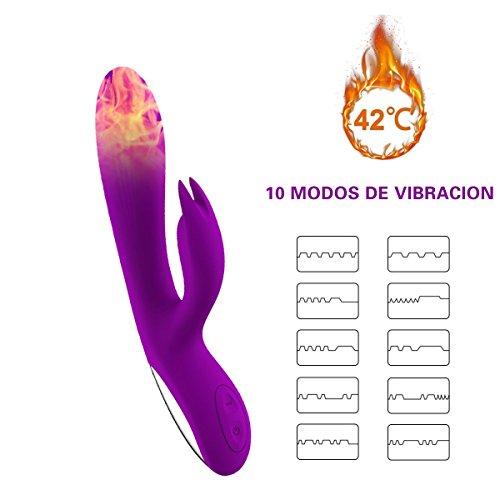 ZAMO Alice Vibrador Doble Consoladores Sexuales Mujer Masturbador Femenina de Calentamiento de Doble Vibración Estimulador de Punto G para Parejas Masajeador para Relajar el Cuerpo con 10 Modos