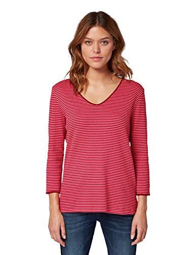 TOM TAILOR für Frauen T-Shirts/Tops Langarmshirt mit V-Ausschnitt pink red Popcorn Structure, XXL -