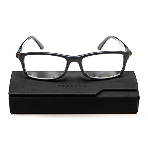 PROSPEK - Hochwertige Computer Brillen - Dynamic - Blaulicht- und Blendschutz (+0.00 Dioptrien | Grau | Große) -