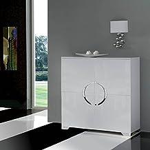 Muebles de Salón - Aparadores de Diseño - Blanco/Cromo W-744