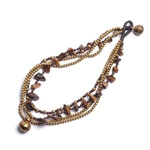 81stgeneration Neu Tigerauge Perlen braun Charme Messing Armband Fußkette