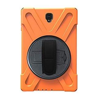 Full-Covered Tablet Cover 360 Grad Rotation Kickstand Case Shockproof Anti-Scratch Schutzhülle mit Handschlaufe und Schultergurt für Samsung Tab A2 (Orange)