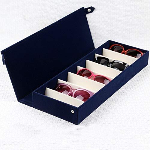 WG 8 Grids Flock Sonnenbrille Aufbewahrungsbox Wildleder Brille Organizer Case Collector Mit Abdeckung Sonnenbrillen Display Blue Watch Organizer,D