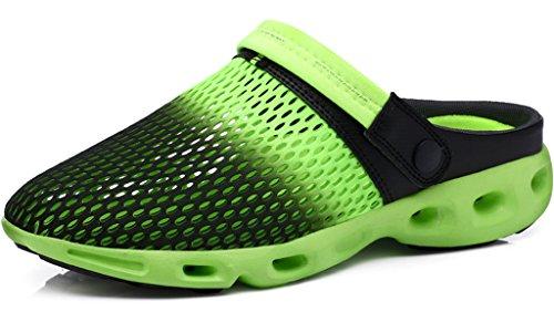 Gaatpot Clogs Pantoletten Unisex-Erwachsene Slip on Outdoor Hausschuhe Freizeit Mesh Strand Sandale Schuhe Sommer Grün (Black) 41 EU = 42 CN