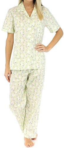 Sleepyheads Kurzarm-Pyjama für damen aus baumwolle zweiteiliger schlafanzug Cremefarbenes Trellis-Muster mit Vögeln