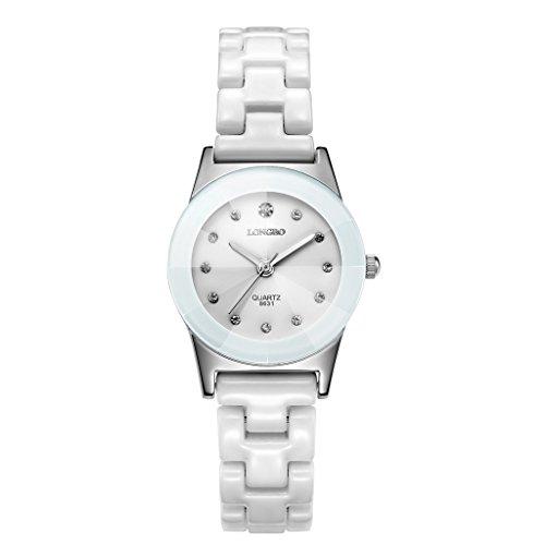 Longbo Damen Luxus Keramik Trageriemen Strass Analog Quarzuhr weiß Jade Fall Armband Handgelenk Uhren Fashion crystal-accented Paar Uhren für Damen