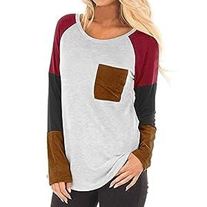 Fuibo Damen Bluse, Frauen Damen Tasche Patchwork Hemd Langarm Casual Shirt Tops Bluse [ Oberteile Tops ]