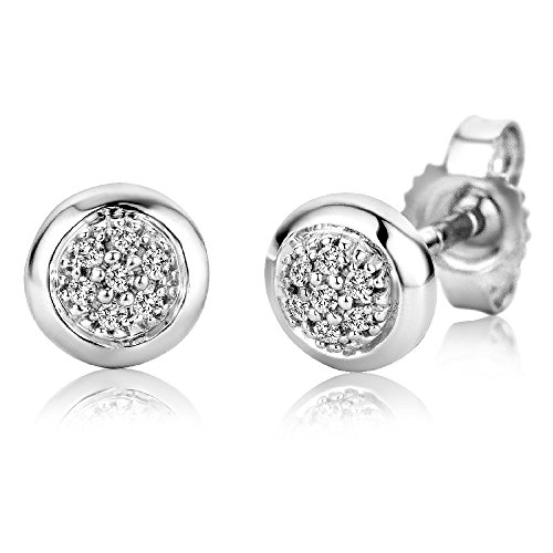 er 9 Karat - Dezente, elegante Ohrringe aus 375 Weißgold mit 14 weißen Diamanten mit 0,06 ct. - Ohrschmuck klein Ø 5,5 mm ()