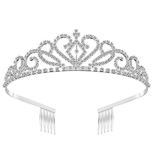 WINOMO Hochzeit Braut Diademe Kristall Strass Tiara Haarreif mit Kamm (Silber)
