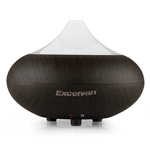 Excelvan Diffusore di aromi ultrasonico, agli oli essenziali, umidificatore per aromatherapy e purificatore d'aria – Effetto legno scuro – GX-02K