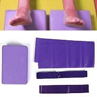 Equipo de gimnasio de yoga para el hogar, 4 piezas Bloque de yoga Tirador de látex Anillo de resistencia de estiramiento de cinturón Equipo de gimnasio de yoga Conjunto para ejercicio Forma de fitness