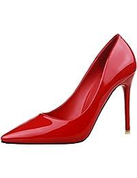 BIGTREE Spitze Zehen Damen Metall Niete High Heels von Rot Pumps Knöchelriemchen Sandalen 41 EU