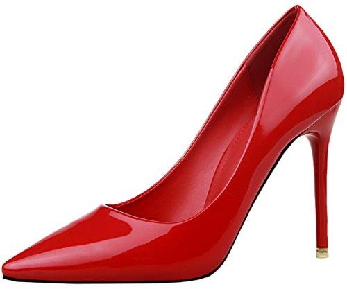BIGTREE Lackleder Damen's Spitze Zehen High Heels Kleid Schuhe Rot Stiletto Pumps von 42 EU (Heel-schuhe Marine-blau-high)