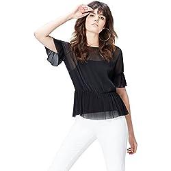 FIND Top Plisado con Transparencias para Mujer , Multicolor (Black), 42 (Talla del Fabricante: Large)
