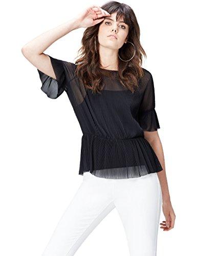 FIND Bluse Damen Plissee-Top und blickdichtes Unterhemd, Mehrfarbig (Black), 44 (Herstellergröße: XX-Large) (Plissee-bluse Damen)