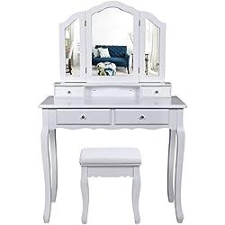 Songmics Tocador Mesa para Maquillaje Bucólico Blanco con Espejo Plegable Taburete y un Cajón RDT07W