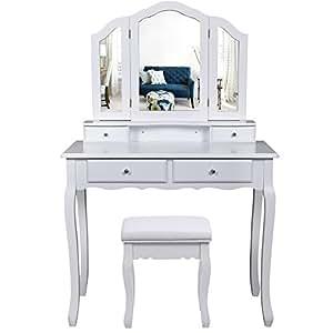 Songmics grande coiffeuse table de maquillage avec 3 miroir 4 tiroirs s parations pour tiroir - Table de cuisine fixee au mur ...