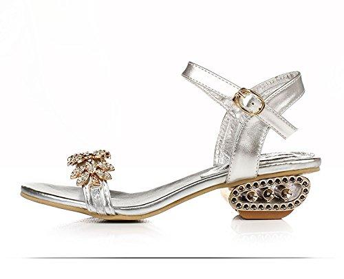 XY&GKStrass'S Sandalen Frauen Ferse Ferse und Zehen Crystal Heel Heel Sandalen, komfortabel und schön 40 Silver