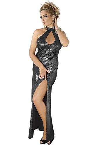 Preisvergleich Produktbild langes silbernes Wetlook-Kleid M / 1070 54 / 56 von Andalea