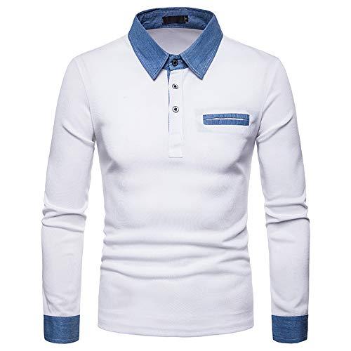 Herren Langarm T-Shirt JiaMeng Herbst Winter Reine Farbe -