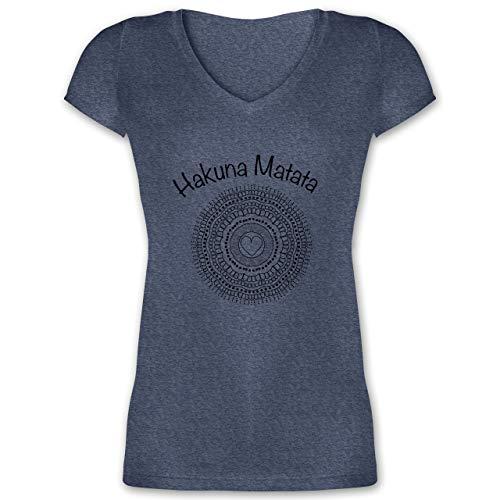 Statement Shirts - Mandala Herz - L - Dunkelblau meliert - XO1525 - Damen T-Shirt mit V-Ausschnitt