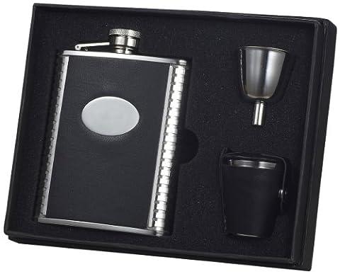 Visol VSET27 Tux Leather Deluxe 6 Unzen Schnaps Flasche Gift Set - Liquor Flask Gift Set
