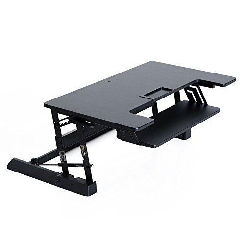 HOMCOM Sitz Steh Computertisch Schreibtisch Erhöhung Tischaufsatz Höhenverstellbar, Stahl+MDF, Schwarz/Weiß, 93x61,5x16,5-41,5cm (Schwarz) -
