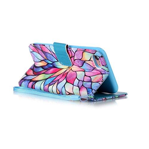 Ledowp Apple iPhone 7portafoglio in pelle, protezione integrale modello colorato design custodia in pelle custodia a portafoglio in pelle con slot per schede per iPhone 7 multicolore Colorful Tree Flower #3