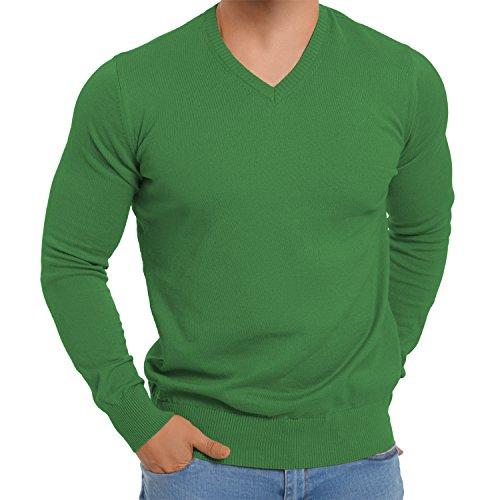 Original CELODORO Herren V-Neck Pullover - Longsleeve Reine Baumwolle - Größen S-3XL Fern Green