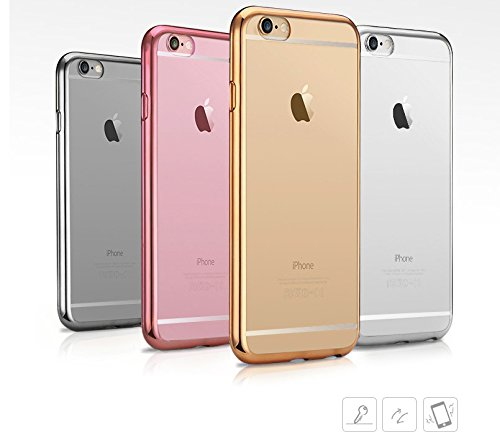Excel Trading Premium Ultradünn Transparent Metall Galvanotechnik Technologie Soft Gel TPU Silikon Case für ', 5 C/Snap On, 6,6s, 6S, 6Plus, 6splus in pink, Rose, Gold, Silber, Gold Farbe Iphone 6/6s gold (Gel Excel)