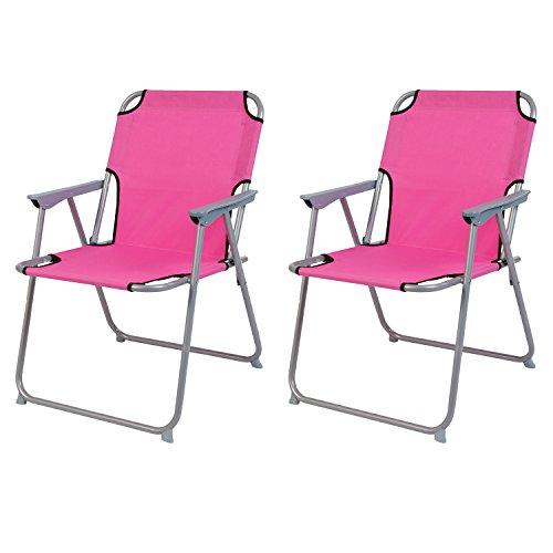2 Stück Campingstuhl Faltstuhl Stoff Oxfort Pink Klappstuhl Anglerstuhl Regiestuhl Angelstuhl Metall B 53 x T 46 x H 74 cm