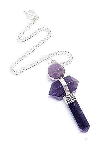 Péndulo amatista Herkimer diamante doble terminación Gema Cristal Do