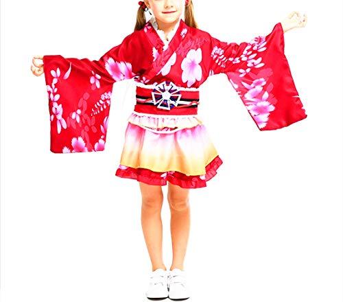Mitef Yukata Cosplay Corto Verano Kimono Cosplay De Halloween Vestido De Niña Gr. S, Rojo