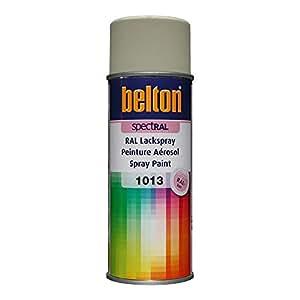 RAL 1013 BLANC PERLE Mat (BELTON) (Bombe peinture 400 ml) - bombe aerosol reparation peinture carrosserie voiture teintes standrard et RAL (reference couleur constructeur 150 ou 400 ml)