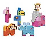 Ecoiffier 7804 Maxi-Abrick Spielset Dschungeltiere, blau, grün, rosa, grau, orange