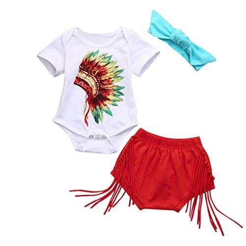 Mädchen Outfits janly® 0–2Jahre Baby indischen Print Strampler Tops Neugeborene Quasten Shorts Geschenkschatulle Haarband, weiß