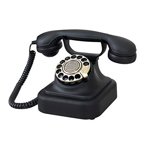 RFJJ Klassische Retro-1930er Jahre Vintage-Stil Wählscheibe Festnetz Telefon bietet traditionelle Bell-Ring und Push Button Dial - schwarz Telefon