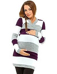 Happy Mama Para Mujer Vestido de punto premamá. Diseño mixto de rayas. 405p